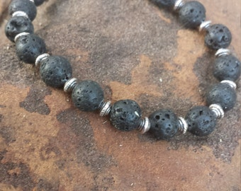 Lava Stone and silver Spacer Bracelet