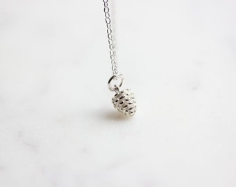Silver Pine cone necklace - Tiny Pine cone Necklace -  Woodland Wedding - Sterling Silver Necklace - Bridesmaid gift - Tiny Necklace