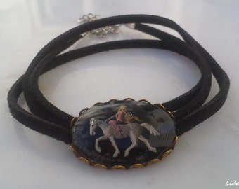 Vintage Pendant Necklace Choker, Lady on Horse