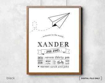 Aeroplane Printable Personalised birth print art - birth announcement - Custom Birth Announcement Poster - Nursery wall art -DIGITAL FILE