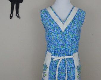 Vintage 1960's House Dress / 60s Komar Zip Front Dress L  tr
