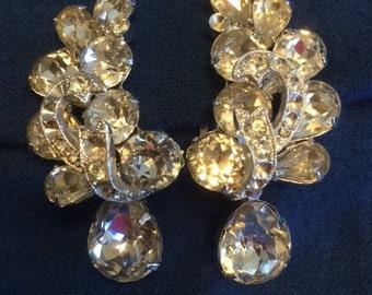 Eisenberg Signed Vintage Clear Rhinestone Clip Earrings On Sale