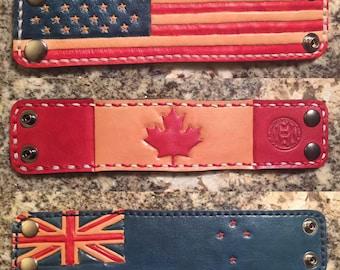 Leather Flag Cuffs