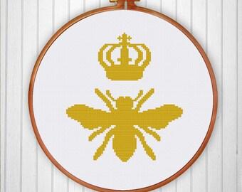 Queen Bee cross stitch pattern| Modern funny silhouette queen bee counted cross stitch chart| Easy beginner insect cross stitch pattern pdf