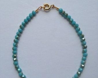 Light opaque aqua blue with metallic flecks bracelet