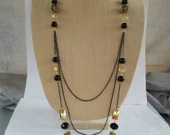 Black and Gold Multi strand necklace