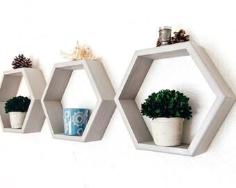 Honeycomb Shelves, Geometric Shelf Set of 3, Hexagon Shelves, Gray Shelves, Nursery Decor, Spring Decor, Choice of Color (Sunbleach shown)