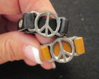Original 1960's LEATHER PEACE SIGN rings, brown or black, never worn