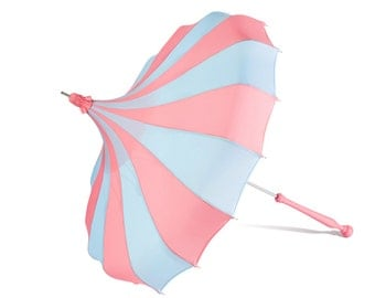 Bella Umbrella Pagoda Umbrella - French Blue & Pink Waterproof Parasol