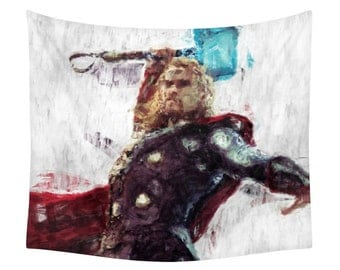 Thor Tapestry, Hero Character, Marvel Comic, Avengers Print, Geek Illustration, Kids Wall Tapestries, Children Decor, Black Widow, Spiderman