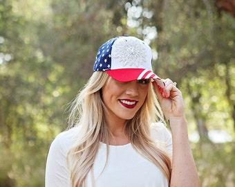 American Flag Hat-Bling Baseball Cap-Sparkle Flower