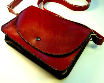 Handmade leather bag, dark maroon, woman bag, everyday bag