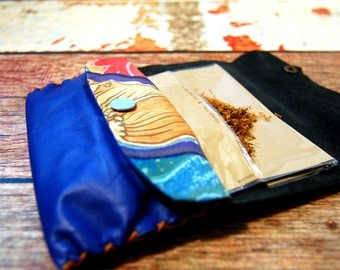 Leather rolling tobacco pouch, very soft leather, blue electric, patchwork cotton pocket.