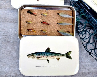 Fly fishing Box with hand tied fly, fly box