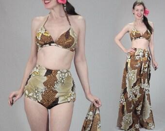 Reserved Daisy--Vintage 50s bikini sarong set, pinup bikini xs S small swim coverup wrap Hawaiian dress, 1960s 60s 1950s swimsuit retro high