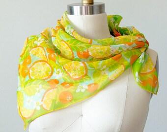1960s vintage scarf / orange fruit patterned chiffon scarf