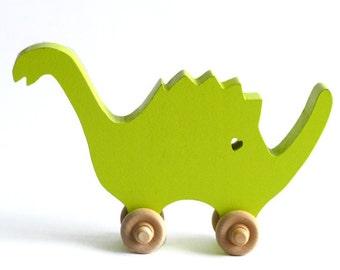 Speedy Spike-Dinosaur Push Toy-Wood Toy Animal-Kids Toy-Wooden Toy-Dinosaur-Kids Room Decor-Nursery Decor-Dinosaur Decor-Push Toy
