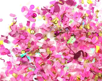 PINK CONFETTI /// Let's Flamingle confetti with flamingos for wedding decor party photoshoots packaging