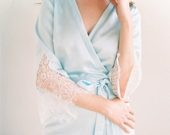 Bridal Robe, Lace Robe, Lace Bridal Robe, Wedding robes , Bridesmaid Robes, Boudoir Robe, Silk Robe, Frida Robe