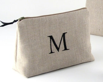Personalized Linen Cosmetic Bag // Linen Clutch // Monogrammed Cosmetic Bag //  Linen Makeup Bag // Monogram Makeup Bag // Gift for Her