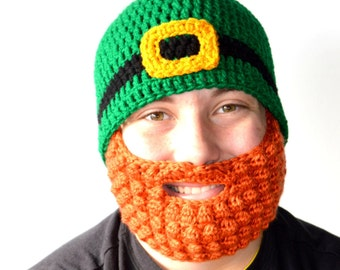 Baby Beard Hat, Leprechaun Beard, St Patricks Day Belt Buckle Beanie, Orange Beard, Infant - Adult, Toddler Beard Hat, Kids Dress Up, Silly