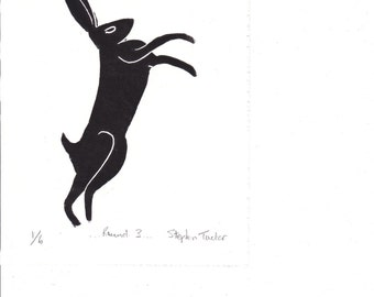 Signed, Limited Edition Lino Print of a Boxing Hare
