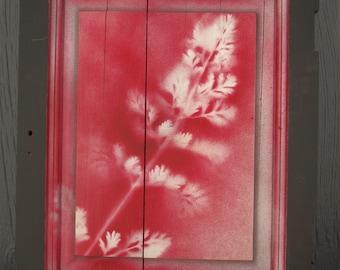 Botanical Art on repurposed cabinet door (single)