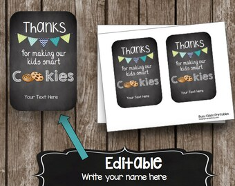 50% SALE - TEACHER Appreciation - Kids - Smart Cookies - Editable - Gift - Printable - Editable - Customize