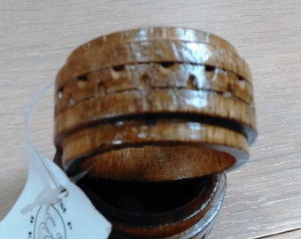 Two Wooden Napkin Rings/ Holders Made in Philippines  A