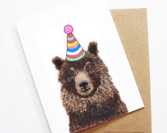 Birthday Card - Bear, Animal Birthday, Animal Card, Cute Greeting Card, Kids Birthday Card, Baby Birthday Card, Blank Bear Card
