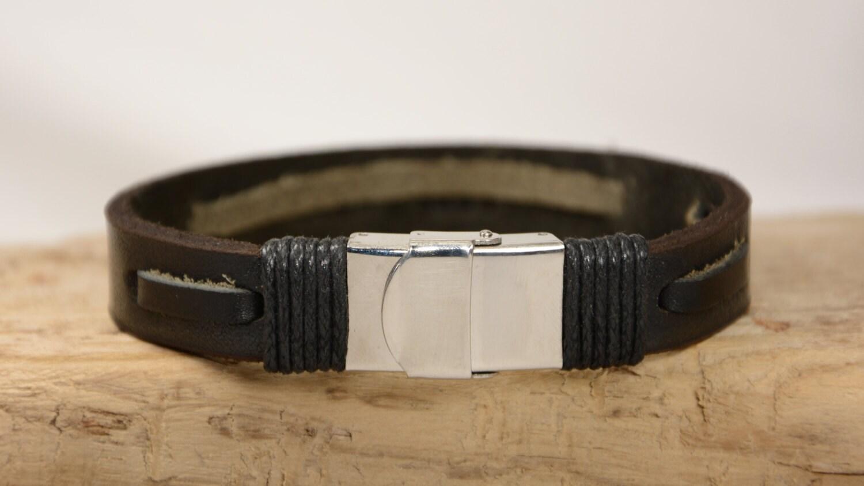sound wave bracelet mens bracelet leather bracelet by pukkamen