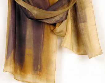 Hand painted scarf. Autumn stripes silk scarf paint by hand. Long fashion scarf. Abstract painting on silk by Dimo. Bridesmaids gift