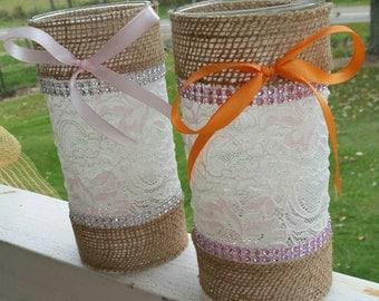 Burlap Wedding Vase, lace wedding, wedding centerpiece, rustic wedding, country wedding, lace decoration, burlap and lace, rhinestones