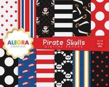 80% OFF SALE - Pirate Skulls Digital Papers, Pirate Scrapbook Paper, Skulls, Swords, Red, Black, Blue - Instant Download - P003
