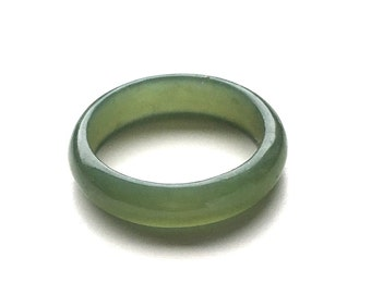 Canadian Jade Narrow Band Ring 5mm - Ring - Jade Ring - Natural Jade Ring - Summer Sale - 10% off - Promo Code: Summer2017