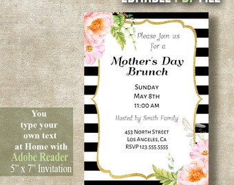 Mother's Day invitation, Mother's day brunch, Mothers day party, Instant Download Editable PDF file A443