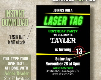 Laser Tag Birthday Invitation, Laser Tag party, Instant Download, Editable PDF File A466