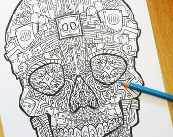 Robot Sugar Skull Coloring Sheet Skulls Book 2