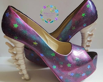 Galaxy cosmo universe handpainted shoes with bone heel and holographic stars