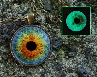 Eye necklace Glow in the dark Eye jewelry Glass pendant Glowing green eye Gothic necklace Eye pendant Human eye Evil eye Steampunk necklace