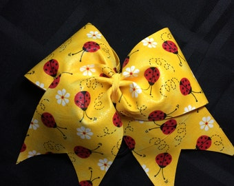 Yellow Lady Bug Cheer Bow