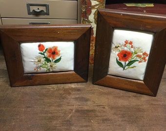 Vintage crewel set of 2 framed