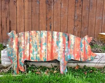 Pig Rustic Wood Cut Out, Wooden Pig Outline, Rustic Pig, Large Pig,Pig Sign, Pig Art, Pig Decor
