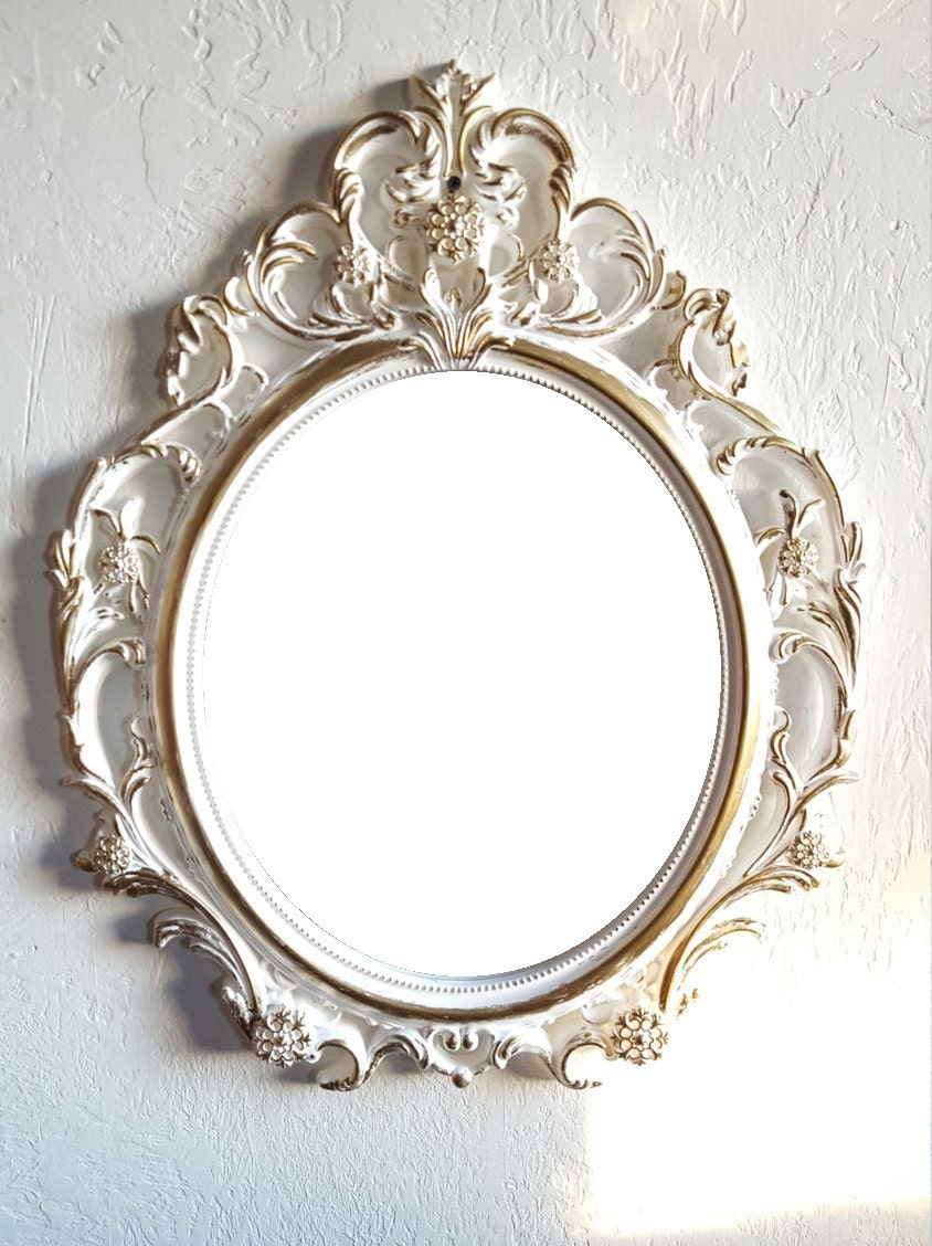 Sale large white gold wall mirror ornate by pinkelephants03 for Big white wall mirror