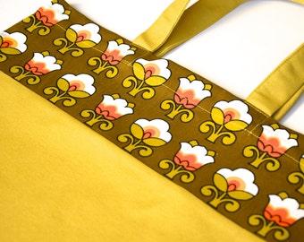 Tote Bag / Market Bag Mustard & Vintage Flowers