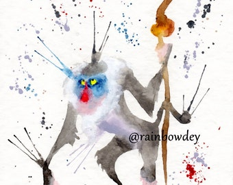 RAFIKI - 2 Watercolour - work dated and signed - delivery available in France!