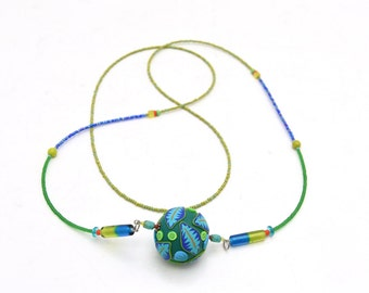 Blue and Green Fimo Bead Pendant Necklace