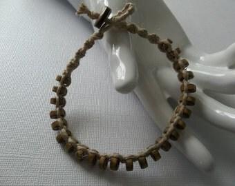 "NATURAL ANKLE BRACELET - 9.5""- wood beads, hip hemp hippie jewelry!"