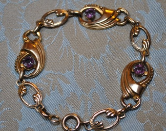 Vintage Art Nouveau Harry Iskin Gold Filled Purple Oval Links Bracelet