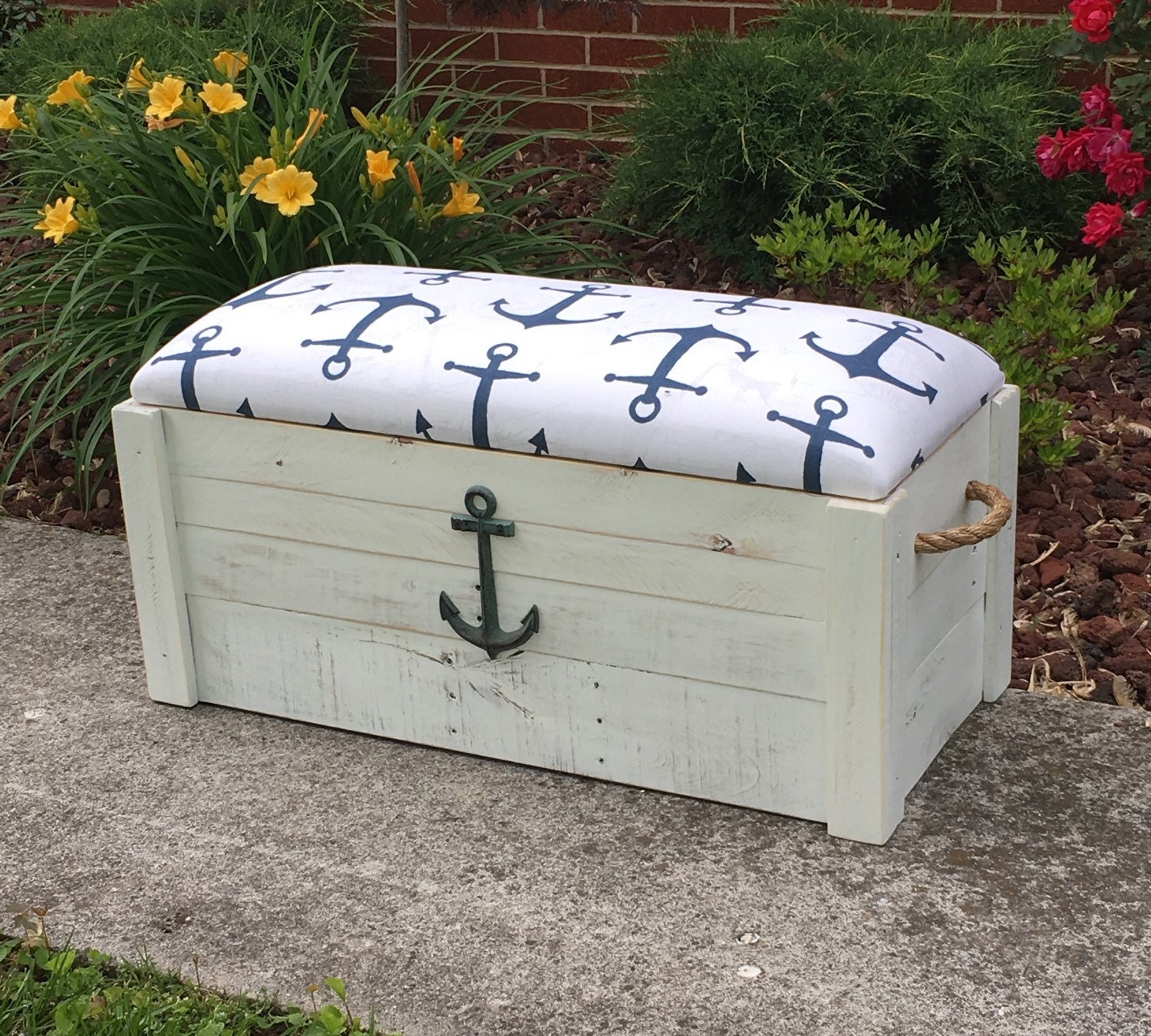 Foyer Storage Chest : Hope chest toy box white distressed paint entryway bench